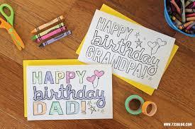 dad grandpa printable coloring birthday cards inspiration made