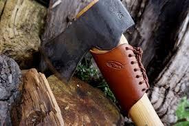Handmade Swedish Axe - bespoke gransfors bruks leather strike protector collar