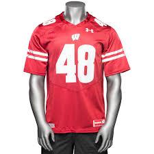 Custom Flag Football Jerseys Under Armour Wi Replica Football Jersey 48 Red University