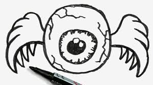 how to draw a cartoon halloween eyeball with crab legs easy
