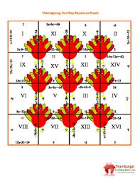 thanksgiving math puzzle two step equations by the gurgals tpt