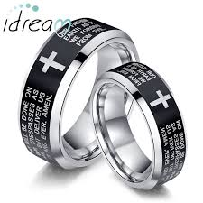 his and hers engagement rings holy bible and cross laser engraved tungsten wedding bands set
