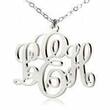 monogram necklace silver personalized vine font initial monogram necklace solid white gold