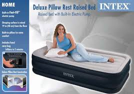 intex deluxe pillow rest raised twin air mattress and pump