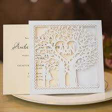 tree wedding invitations heart tree laser cut wedding invitation cards ewts008