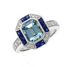 18ct white gold aquamarine sapphire and diamond art deco dress