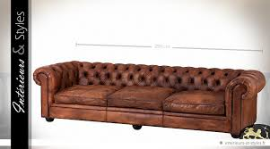 canapé chesterfield ancien grand canapé chesterfield 3 places en cuir havane 280 cm