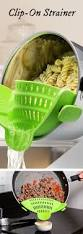 clip this silicone strainer right on the pot to drain without