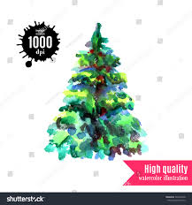 watercolor xmas tree isolated on white stock illustration
