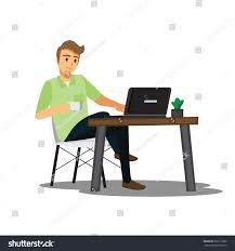 freelance developer designer working homevector character stock