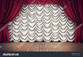 stage red white curtains background 3d stock illustration