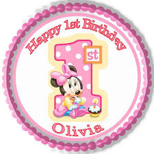 minnie mouse 1st birthday baby minnie mouse 1st birthday b edible cake topper cupcake