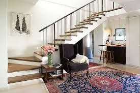 good looking spindles for stairs with dark wood floor leaning art