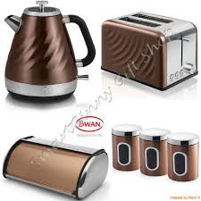 luxury copper swan set kettle u0026 2 slice toaster 3 canisters