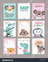 set baby shower cards cute animals stock vector 407366146