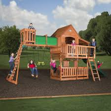 Playsets Outdoor Woodridge Ii Wooden Swing Set Wall Ladders Side Porch And