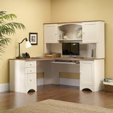 White Desk Harbor View Workcenter With Hutch Set Ps1010 Sauder