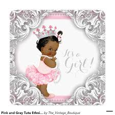pink and gray tutu ethnic baby shower invitation ethnic