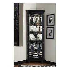 new black corner curio cabinet tall display case glass door