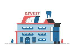 bureau de dessin en b iment bâtiment de dentiste illustration plate de vecteur façade