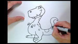 how to draw a cartoon dinosaur youtube