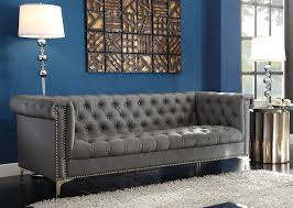 Modern Tufted Leather Sofa by Amazon Com Iconic Home Winston Modern Tufted Gold Nail Head Trim