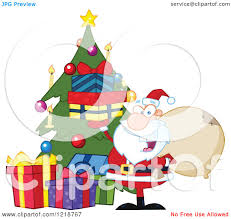 clipart of santa happily holding up gifts by a christmas tree