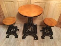 eiffel tower table new set of 3 wooden metal eiffel tower table chair accent