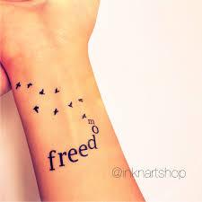 2pcs freedom with flying birds tattoo inknart temporary tattoo