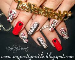 my pretty nailz manicure makeover red cherry blossom mani