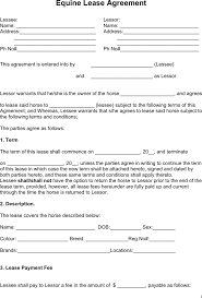 download equine lease agreement for free tidyform