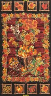 welcome harvest autumn fabric panel sunflowers pumpkin premium