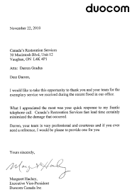 Thank You Letter Business Opportunity by Thank You Canada U0027s Restoration Services