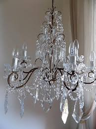 Brass Chandelier Italian Vintage 9 Arms Chandelier With Rare Shaped Crystals