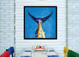 blue marlin fish head art aqua home decor wall art nautical beach