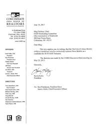 cincinnati area board of realtors endorsement letter received