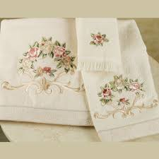 rosefan embroidered bath towels