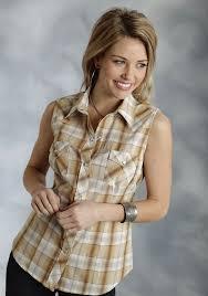roper women u0027s yellow plaid sleeveless snap western shirt