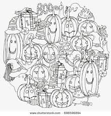 pattern coloring book halloween symbols stock vector 698596894