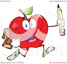 cartoon of a happy red apple running with a backpack and pencil