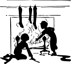 clipart fireplace with christmas stockings