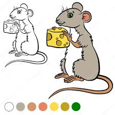 coloring page color me mouse little cute mouse holds a cheese