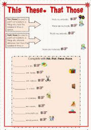 english teaching worksheets demonstratives