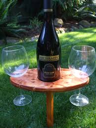 portable outdoor wine table and glass holder stained gunstock