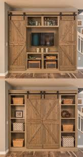 Bookshelf Entertainment Center Open The Barn Doors For An Entertainment Center And Close Them For