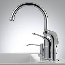 solo widespread kitchen faucet with side spray and soap dispenser