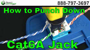 how to punch down a rj45 cat6a keystone jack youtube