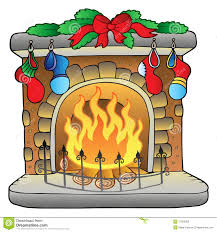 christmas cartoon fireplace stock photos image 17265003
