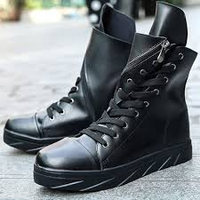 cool fashion leather thick platforms ankle boots mens hip hop