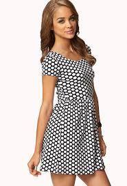 forever 21 polka dot baby doll dress in white lyst